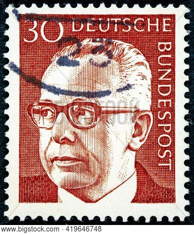 Germany - Circa 1971 A Stamp Printed In Germany Showing A Portrait Of Federal President Gustav Walte