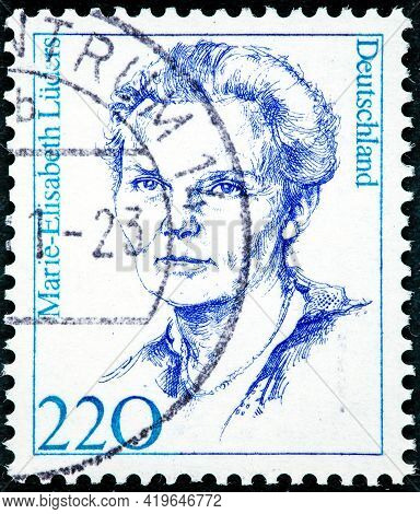 Germany - Circa 1997:  Stamp Germany 1969 The 50th Anniversary Of The Womens Right Of Voting Marie-e