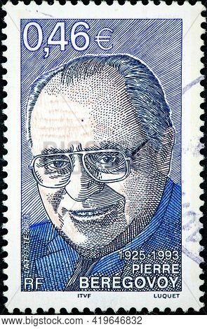 France - Circa 2003: A Stamp Printed In France Shows The Portrait Of Pierre Beregovoy Member Of The