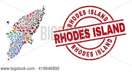 Rhodes Island Map Mosaic And Unclean Rhodes Island Red Circle Stamp Imitation. Rhodes Island Stamp U