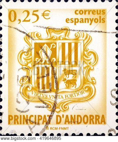 Andorra Spain, Circa 2007: A Stamp Printed In Spain Shows The Coat Of Arms Of The Principality Of An