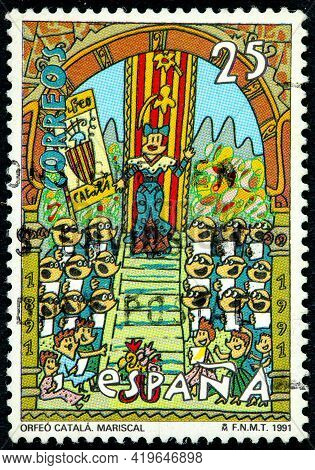Spain - Circa 1991: A Stamp Printed In The Spain Shows Orfeo Catala Designed By Javier Errando Maris