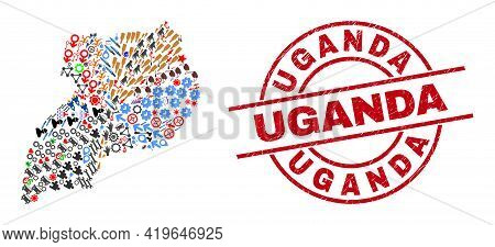 Uganda Map Collage And Unclean Uganda Red Round Stamp Print. Uganda Stamp Uses Vector Lines And Arcs