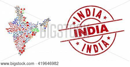 India Map Collage And Grunge India Red Round Seal. India Seal Uses Vector Lines And Arcs. India Map