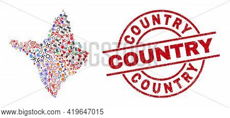 Amapa State Map Collage And Scratched Country Red Round Watermark. Country Seal Uses Vector Lines An