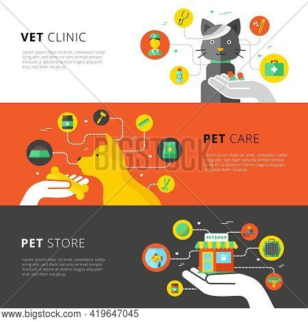 Veterinary Horizontal Banners Set With Vet Clinic Pet Care And Pet Store Flat Vector Illustration