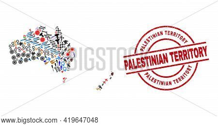 Australia And New Zealand Map Collage And Unclean Palestinian Territory Red Round Stamp Print. Pales