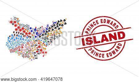 Badajoz Province Map Collage And Prince Edward Island Red Round Watermark. Prince Edward Island Badg