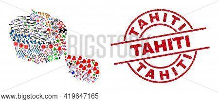 Tahiti Island Map Mosaic And Unclean Tahiti Red Round Stamp Imitation. Tahiti Stamp Uses Vector Line