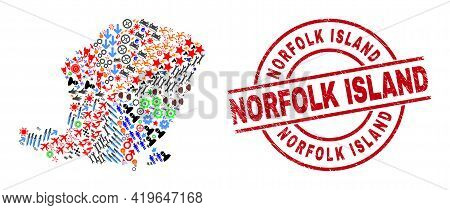 Lombok Island Map Collage And Scratched Norfolk Island Red Circle Seal. Norfolk Island Stamp Uses Ve