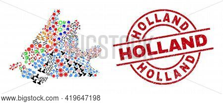 South Holland Map Collage And Grunge Holland Red Circle Watermark. Holland Badge Uses Vector Lines A