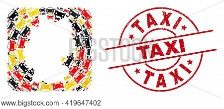Germany Geographic Map Mosaic In Germany Flag Official Colors - Red, Yellow, Black, And Taxi Red Cir