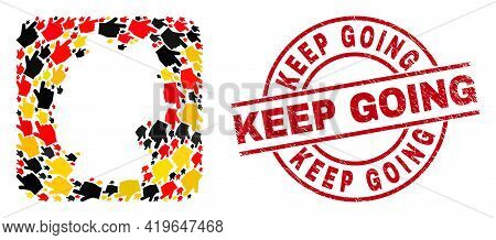 Germany Map Collage In Germany Flag Official Colors - Red, Yellow, Black, And Textured Keep Going Re