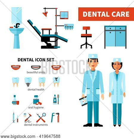 Dentist Design Concept With Stomatologists Dental Clinic Equipment And Dental Care Icon Set Isolated