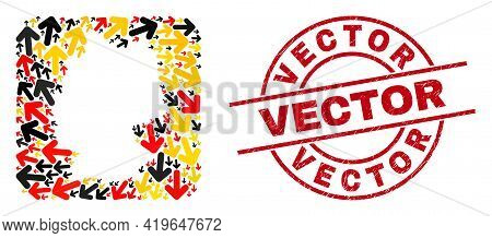 German State Map Collage In German Flag Official Colors - Red, Yellow, Black, And Textured Vector Re