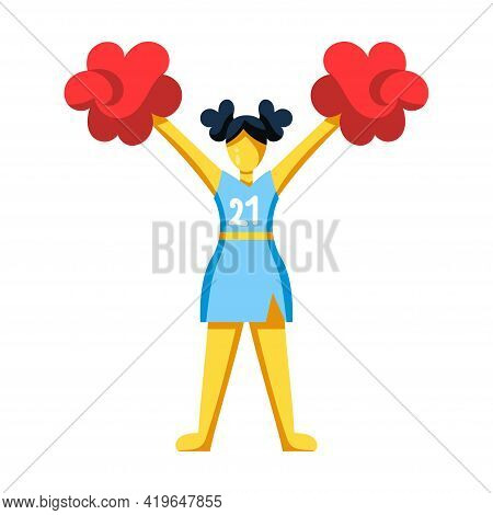 Isolated Icon Of A Cheerleader With Pompoms - Vector