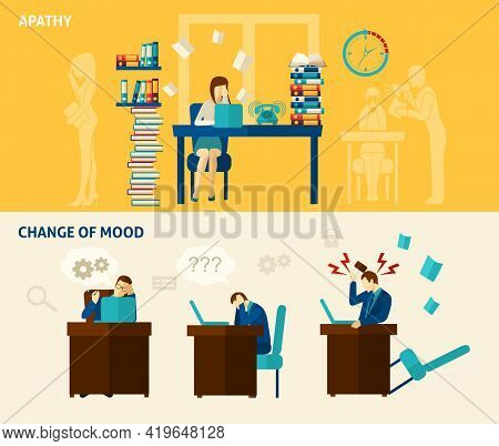 Frustration Horizontal Banner Set With Apathy And Change Of Mood Flat Elements Isolated Vector Illus