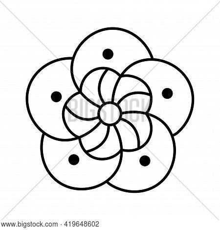 Isolated Aerial View Of An Outline Flower Vector Illustration