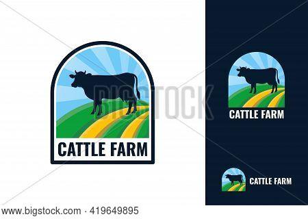 Cattle Farm Logo Template Design. Black Angus Badge Vector.
