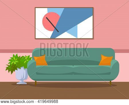 Lobby, Lounge Or Living Room Interior Design Illustration. Green Sofa With Cushions, Plant, Abstract