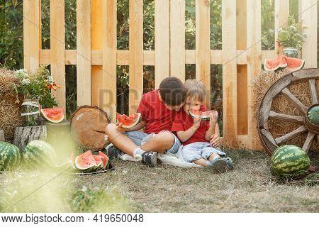 Children Having Picnic In Summer. Children Play And Eat Watermelon. Two Little Cute Boys Enjoying Wa