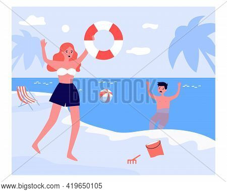 Woman Running With Flotation Ring To Sinking Boy. Sea, Water, Danger Flat Vector Illustration. Emerg