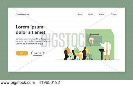 Dentists Conference Vector Illustration. Doctor Speaking Before Audience, Giving Lecture Or Seminar