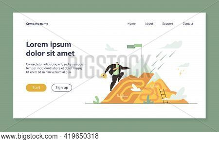 Office Worker Reaching Mountain Top With Flag. Man Achieving Goal, Perseverance Flat Vector Illustra