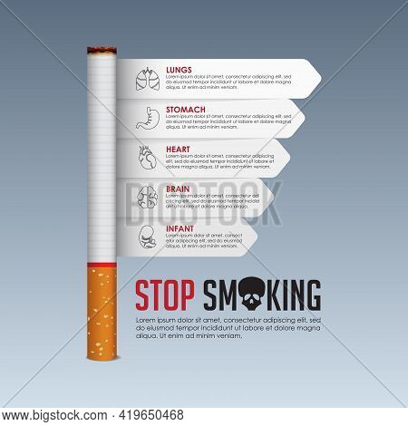 May 31st World No Tobacco Day Banner Design. Cigarette Poisoning Concept. Stop Smoking Poster For Aw