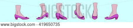 Set Of Ruby Slippers Cartoon Icon Design Template With Various Models. Modern Vector Illustration Is