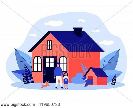 Happy Man, Girl And Dogs In Front Of House. Backyard, Guardian, Kennel Flat Illustration. Lifestyle