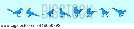 Set Of Roadrunner Cartoon Icon Design Template With Various Models. Modern Vector Illustration Isola
