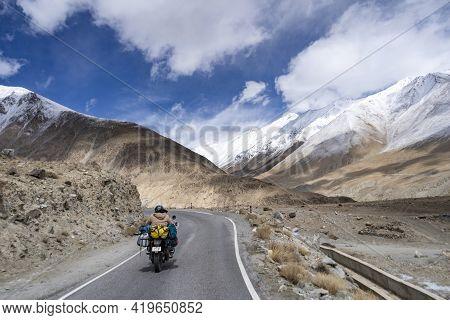 Motorcycle Travelers Ride In Indian Himalaya Roads,leh Ladakh .