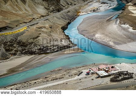 Aerial View Of A River Meeting Another River With Different Color At A Sangam In Indus Valley In Lad
