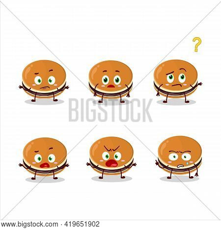 Dorayaki Cartoon Character With Various Angry Expressions