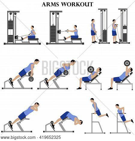 Workout Man Set. Arms Workout Illustration On The White Background. Vector Illustration