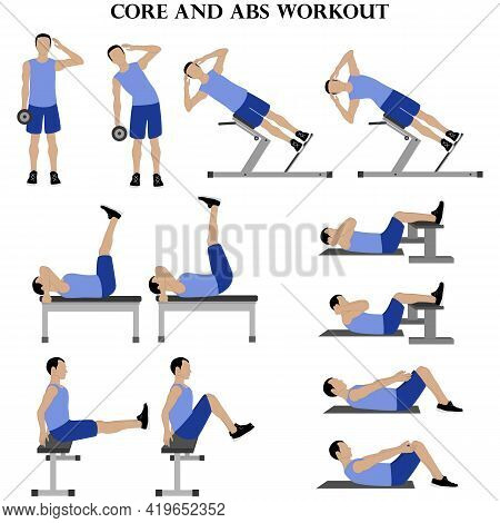 Workout Man Set. Core And Abs Workout Illustration On The White Background. Vector Illustration
