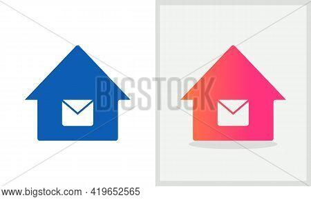 Message House Logo Design. Home Logo With Message Concept Vector. Message And Home Logo Design