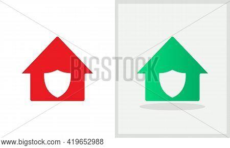 Shield House Logo Design. Home Logo With Shield Concept Vector. Shield And Home Logo Design