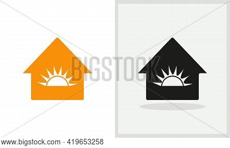 Sun House Logo Design. Home Logo With Sun Concept Vector. Sun And Home Logo Design