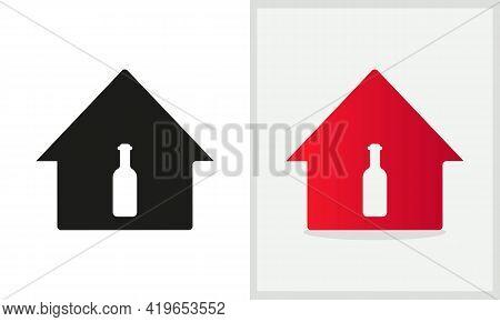 Wine House Logo Design. Home Logo With Wine Bottle Concept Vector. Wine Bottle And Home Logo Design
