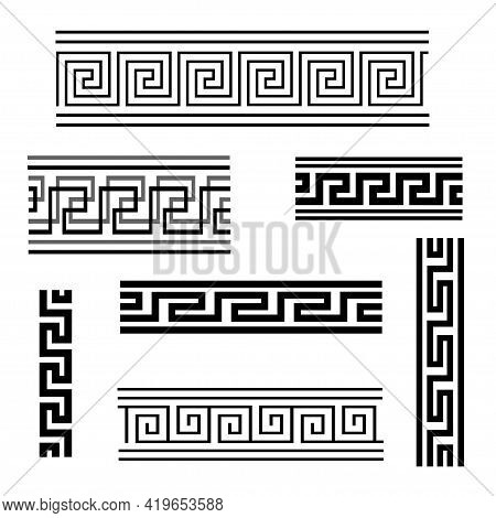 Vector Graphic Illustration Of Greek Ornament. Isolated Image Of Ethnic Pattern Options.