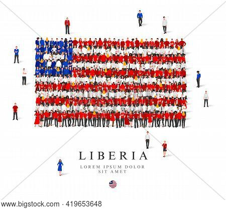 A Large Group Of People Are Standing In Blue, White And Red Robes, Symbolizing The Flag Of Liberia.