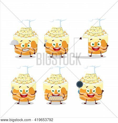 Cartoon Character Of Sweety Cake Melon With Various Chef Emoticons