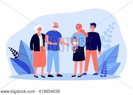 Happy Parents Showing Newborn To Grandparents. Baby, Grandpa, Grandma Flat Vector Illustration. Fami