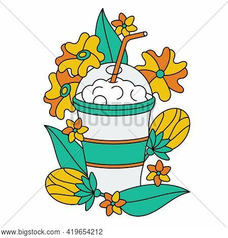 A Glass With A Straw, Delicious Milkshakes Or Smoothies. Flowers And Buds For Decoration. Vector Ill