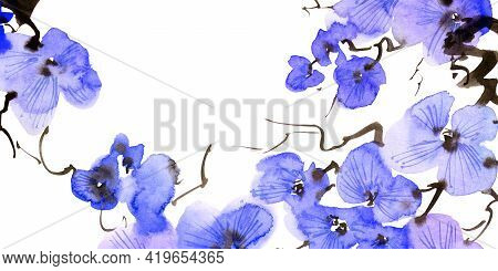Watercolor Illustration Of Blossom Tree Branch With Blue Flowers. Oriental Traditional Painting In S