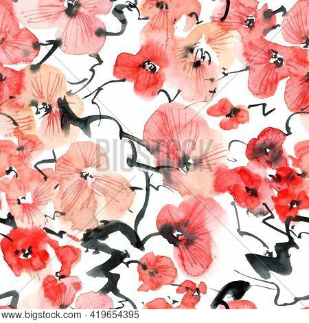 Watercolor Illustration Of Blossom Sakura Tree With Pink Flowers And Buds - Seamless Pattern. Orient
