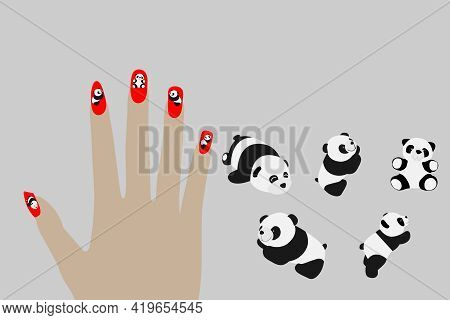 Fashion Fingernails Isolated On White Background And Textures. Panda Group Paint Pattern.
