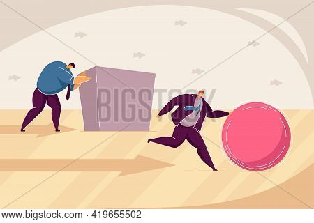 Two Businessmen Pushing Abstract Figures Towards Goal. Flat Vector Illustration. Men Competing, Tryi
